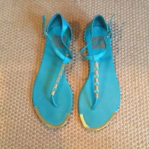Turquoise and gold flats